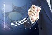 Businessman Drawing An Exponential Curve Of A Progress In Business Performance, Return On Investment poster