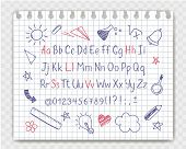 Alphabet In Sketchy Style With School Doodles On Copybook Sheet. Vector Handwritten Pencil Letters,  poster