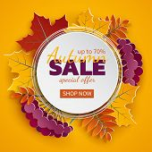 Autumn 3d Sale Banner, Paper Frame, Colorful Tree Leaves On Yellow Background. Autumnal Design For F poster