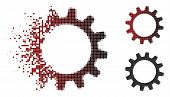 Vector Cogwheel Icon In Dissolved, Dotted Halftone And Undamaged Whole Variants. Disappearing Effect poster