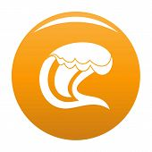 Wave Surfing Icon. Simple Illustration Of Wave Surfing Icon For Any Design Orange poster