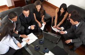 pic of business meetings  - business meeting of young entrepreneurs in an office - JPG