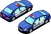 picture of orthogonal  - isometric illustration of police car - JPG
