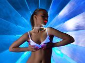 Sexy woman in disco dance with ultraviolet make-up poster