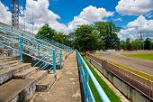 stock photo of pubic  - football pubic stadium and blue sky  - JPG