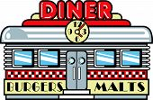 foto of diners  - Diner or Cafe Clip Art in Retro 1950s Style - JPG