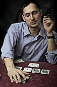 image of sharpie  - young man with cigar playing poker - JPG