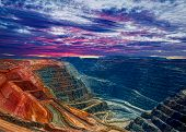 stock photo of iron ore  - Gold mine open pit the Super Pit Kalgoorlie Western Australia - JPG