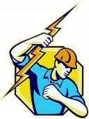pic of lineman  - Illustration of an electrician construction worker holding a lightning bolt set inside hexagon done in retro style in isolated white background - JPG
