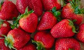 pic of strawberry  - Background of  a desert of red fresh strawberries - JPG