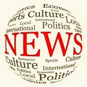 News, information and media related text arrangement (word cloud) with spherical form and the word N