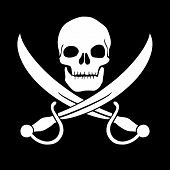 stock photo of pirate sword  - Pirate skull and blades Jolly Roger - JPG