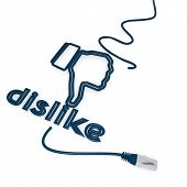 3d graphic of a isolated dislike symbol with cat5 network cable