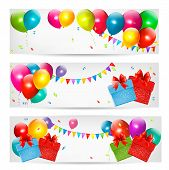 stock photo of balloon  - Holiday banners with colorful balloons and gift box - JPG