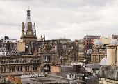 stock photo of edwardian  - View of upper stories and rooftops of older section of Glasgow - JPG