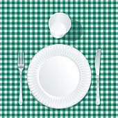 vector paper plate with plastic glass on green tablecloth