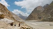image of karakoram  - Trekking along the Braldu River in the Karakorum Mountains in Northern Pakistan - JPG