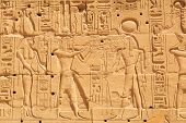 stock photo of stone sculpture  - Hieroglyphic of pharaoh civilization in Karnak temple - JPG