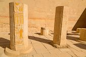 stock photo of hatshepsut  - Decorated columns in the Temple of Queen Hatshepsut in Egypt - JPG