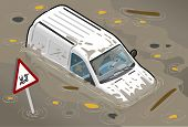 Isometric White Van Flooded In front view