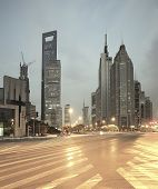 The street scene of the century avenue in shanghaiChina.
