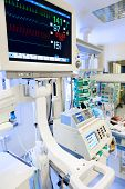 foto of premature  - ECG monitor in neonatal intensive care unit - JPG
