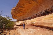 Hiker Admiring The Sandstone Bluff
