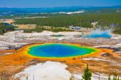 stock photo of world-famous  - World Famous Grand Prismatic Spring in Yellowstone National Park - JPG