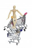 Puppetry Models Pushing Many Shopping Carts