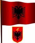 Albania Wavy Flag Over Map