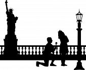 A young man with rose, kneel and woo the girl in New York silhouette