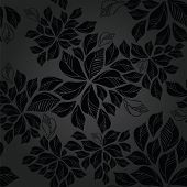 stock photo of charcoal  - Seamless charcoal leaves wallpaper pattern - JPG