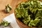 image of kale  - Homemade Organic Green Kale Chips with salt and oil - JPG