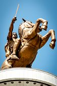 stock photo of great horse  - Statue of Alexander the Great in downtown of Skopje - JPG