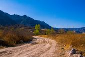 foto of plateau  - the country road in Loess Plateau Shanxi province China - JPG