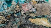 pic of malachite  - detailed macro photo of Malachite and Azurite mineral isolated over white - JPG