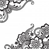 pic of henna tattoo  - Flower vector ornament - JPG