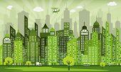 pic of monochromatic  - Vector illustration of simple modern green city - JPG