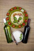 Spaghetti, tomato, cheese and basil poster