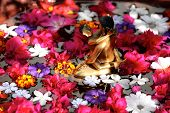 foto of tantric  - Golden tantric figures in a basin of flowers - JPG