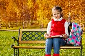 picture of 11 year old  - Happy blond 11 years old girl with amazing smile sitting on the bench in the autumn park on sunny day doing homework outside - JPG