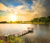 stock photo of dock a pond  - Wooden dock - JPG
