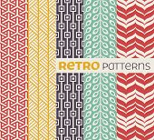 stock photo of tile  - Set of seamless patterns in retro style - JPG
