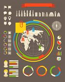 City statistic information of different countries. Infographic elements all selectable