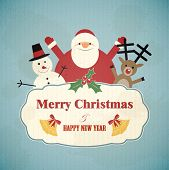 picture of rudolf  - Christmas postcard with Santa Claus - JPG