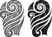 Maori styled tattoo pattern fits for a shoulder or an ankle. Raster illustration.