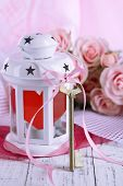 foto of broken heart flower  - Heart in cage  and key on  bright background - JPG