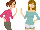 stock photo of pre-adolescent girl  - Illustration of Two Female Teenagers Arguing - JPG