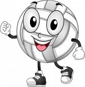 foto of volleyball  - Mascot Illustration of a Volleyball with its Fists Clenched - JPG