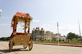 picture of charioteer  - A view of mysore palace from Shiva temple - JPG